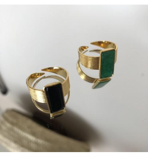 Bague acier rectangle verte